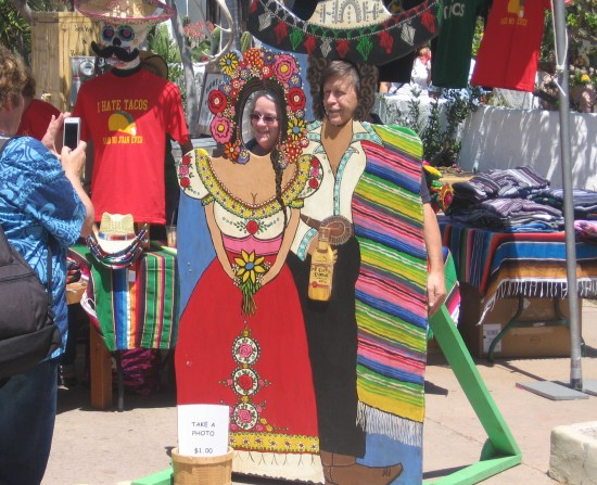 Posing in traditional Mexican garb at Cinco de Mayo.