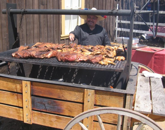 This barbeque smelled really good to the passing crowd.