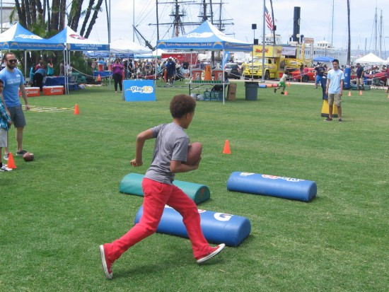 Kid carries footfall through Play60 obstacle course.