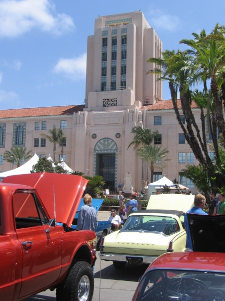 A gigantic car show was held on Harbor Drive.