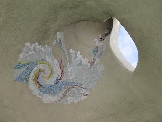 Mosaic adds color to the curved interior of Pacific Portal.