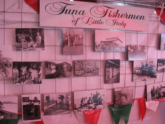 Many old photos of tuna fishermen from Little Italy.