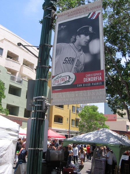 Banner shows Italian Padres player Chris Denorfia.