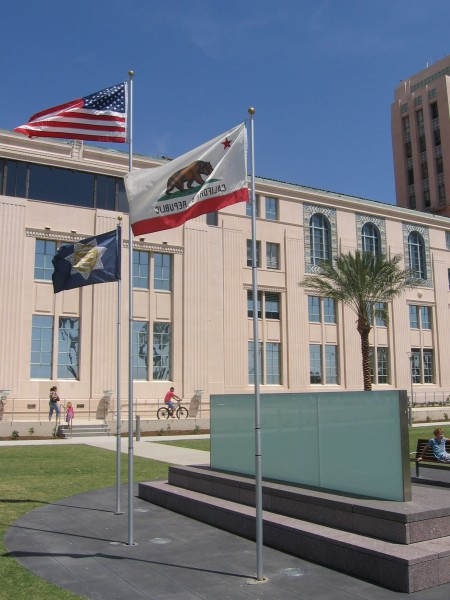 Flags above San Diego County Law Enforcement Memorial.