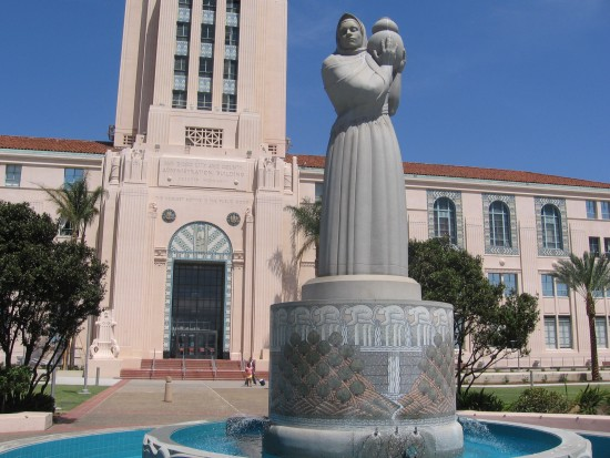 Guardian of Water sculpture faces San Diego Bay.