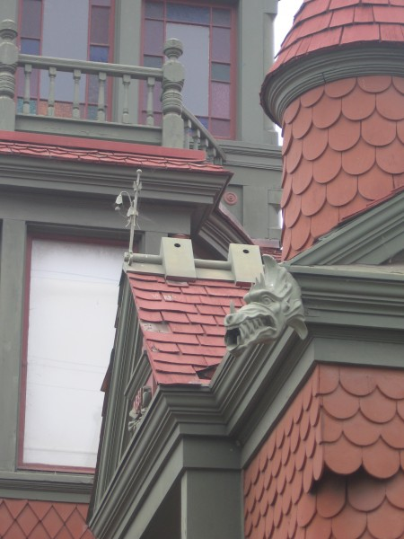 Gargoyle head on a famous historical mansion.