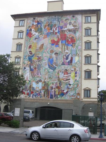 Big mural at St. Vincent de Paul Village.