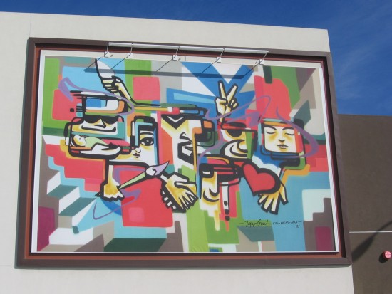 Cool mural in new Barrio Logan development.
