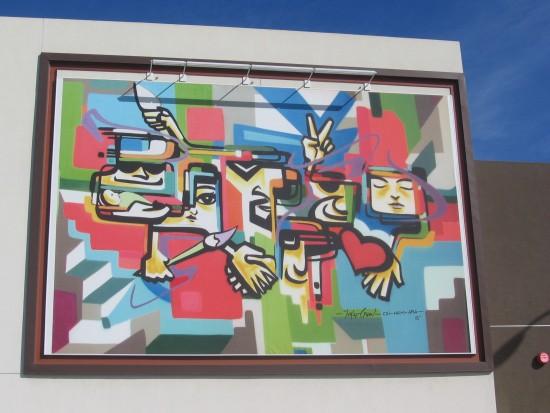 Cool mural in new Barrio Logan development.