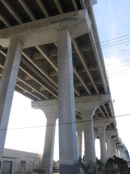 Looking up beneath the Coronado Bay Bridge.