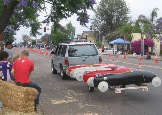 Gravity cars are towed back up to the start line!