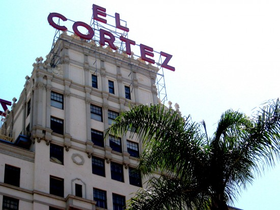 Looking up at the famous El Cortez sign.