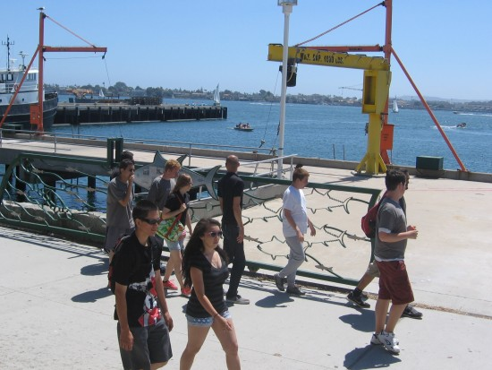 People walk down San Diego's Embarcadero.