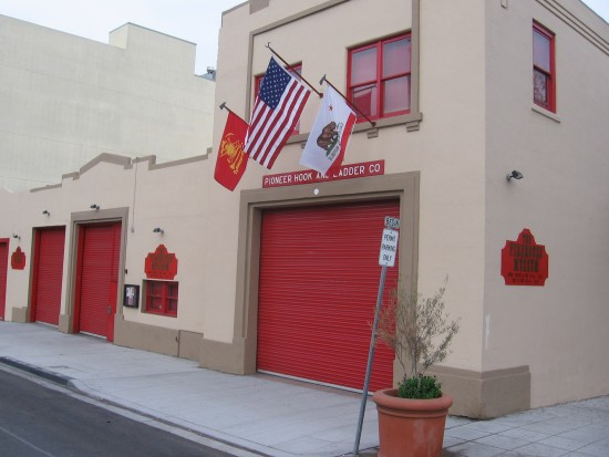 The San Diego Firehouse Museum in the early morning.