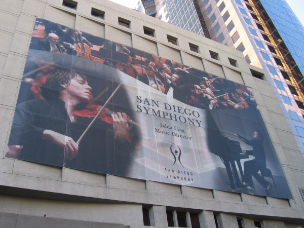 Different San Diego Symphony banner on west side of building.