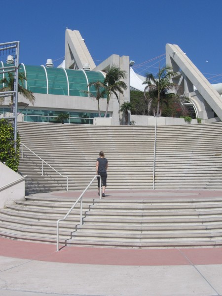 Steps on the bay side lead to Marriott Marina.