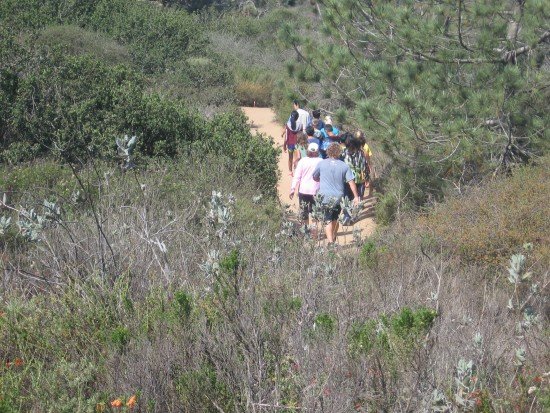 Hikers take beautiful trail through coastal chaparral.