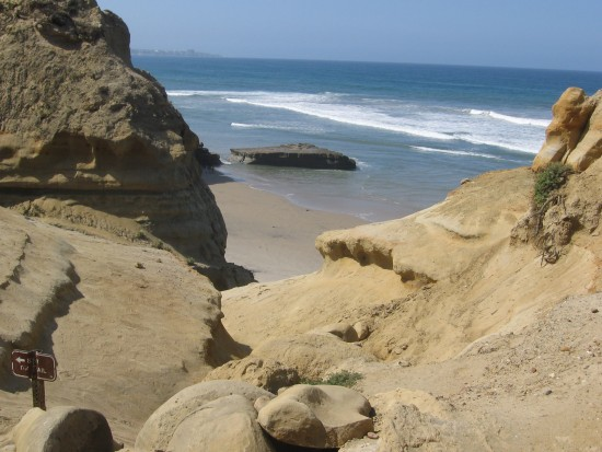 Flat Rock can be seen on Torrey Pines State Beach.