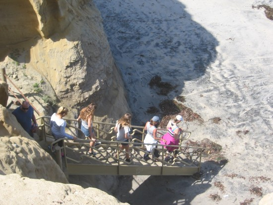 Hikers arrive at the beach!
