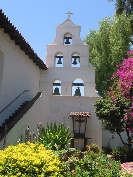 Rear view of the Mission San Diego bell tower.