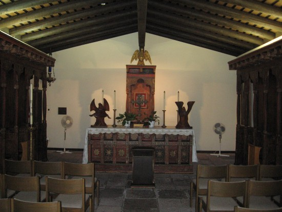 Inside the small mission chapel.
