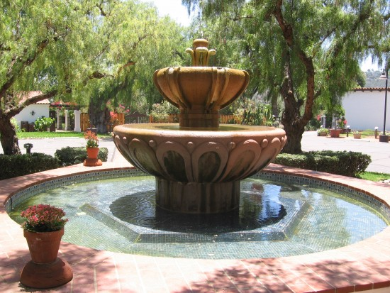 Fountain at center of San Diego mission's central square.