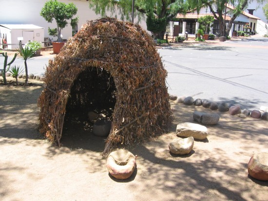 Native American Kumeyaay hut built of willow branches.