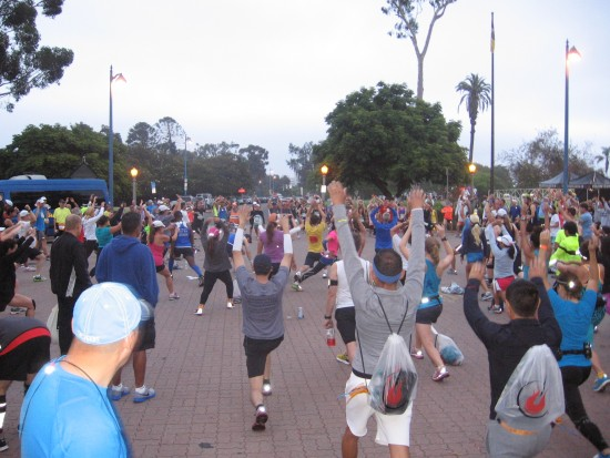 Marathon runners warm up in west Balboa Park.