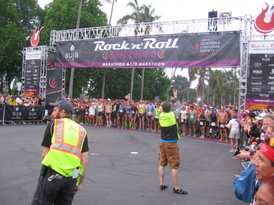 Full marathon runners get ready to begin big race.