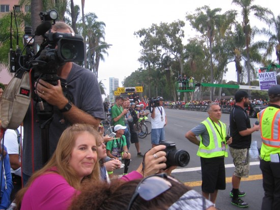 Lots of photographers record the race action.