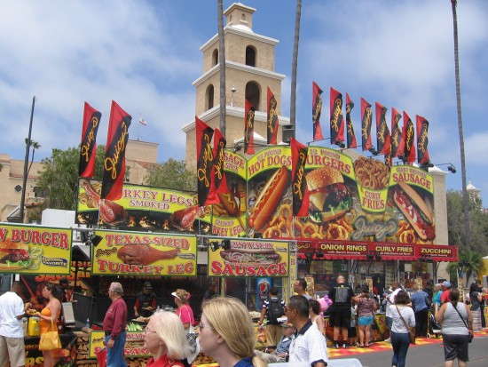 Every kind of yummy food at the San Diego County Fair.