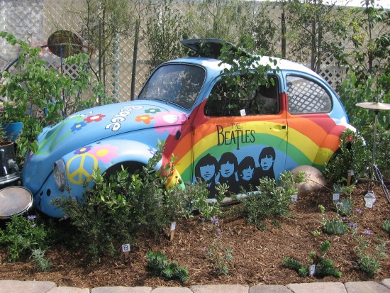 Psychedelic VW Beetle at the outside Garden Show.