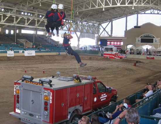 Rescue personnel perform demonstration in Del Mar Arena.