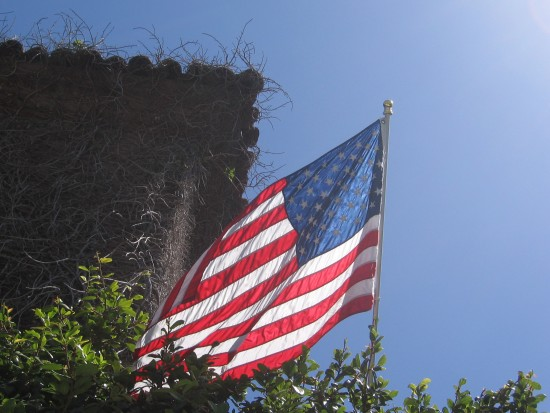 Flag Day celebrated from a downtown rooftop.