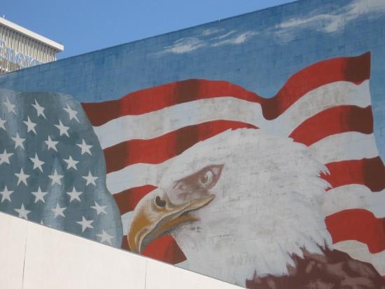 Bald eagle and American flag mural on Beech Street wall.
