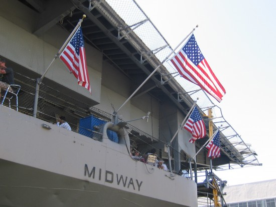 Red, white and blue adorn cafe below flight deck.