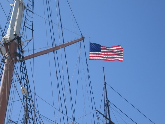 Flag in the sea breeze above Star of India.
