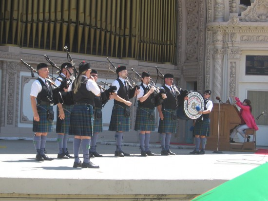 House of Scotland Pipe Band performs at Spreckels Organ Pavilion.