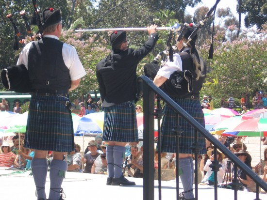 Raising and twirling the baton in time with great bagpipe music.