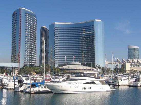 Marriott hotel rises behind the marina.