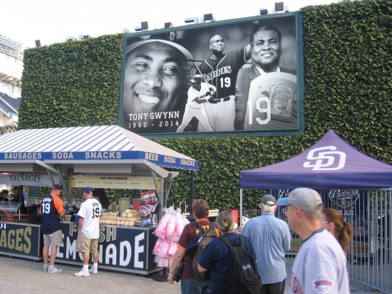 Tony Gwynn on video screen at Petco's Park at the Park.