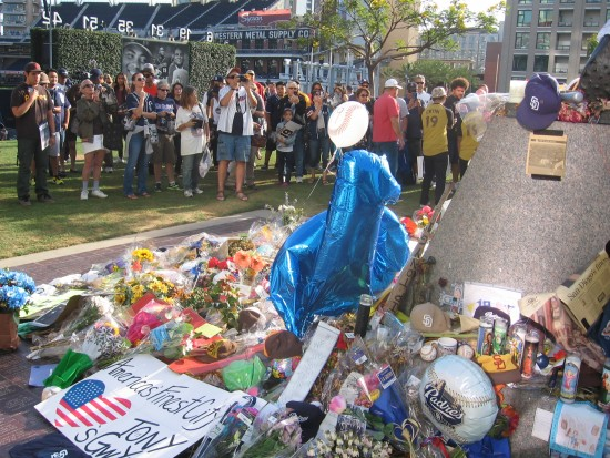 Flowers, messages and memorabilia from loving fans.