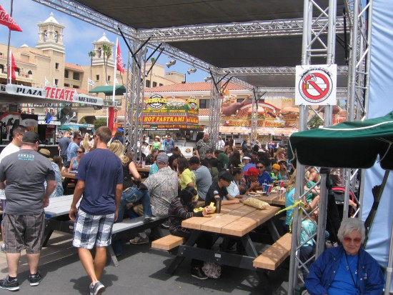 Visitors feast at picnic benches during the 2014 Fab Fair.