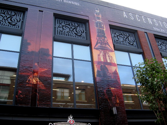 Closer look at Ascension graphics on Gaslamp building.