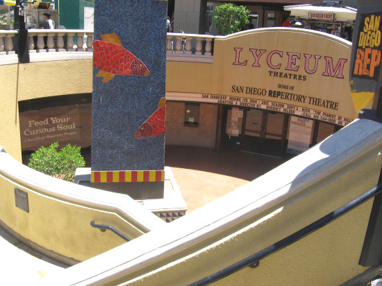 Gazing down at unique entrance of the Lyceum Theatres.