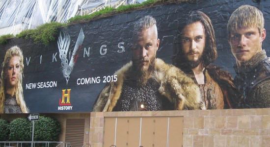 History Channel mural on Petco Park advertises Vikings.