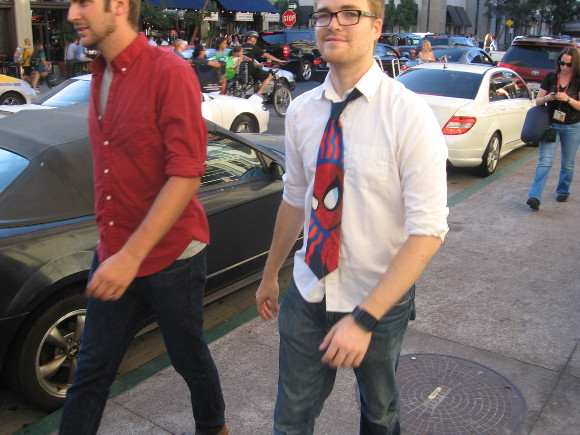 Gentleman heads toward downtown's Gaslamp with a Spiderman tie.