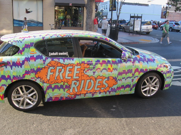 Cool Adult Swim car seems to offer free rides around San Diego.