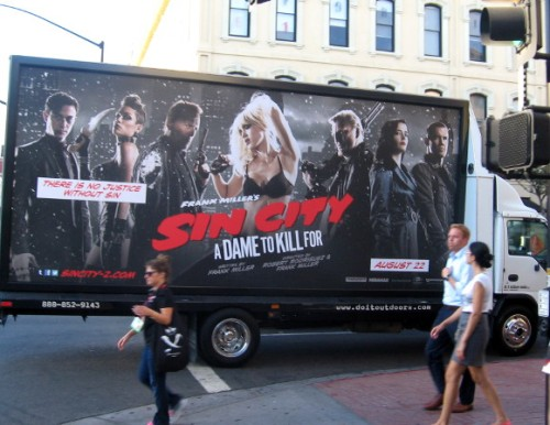 Mobile advertisement for the Sin City sequel, A Dame to Kill For.