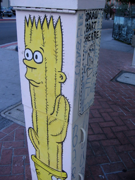 Bart looking like a yellow cactus.